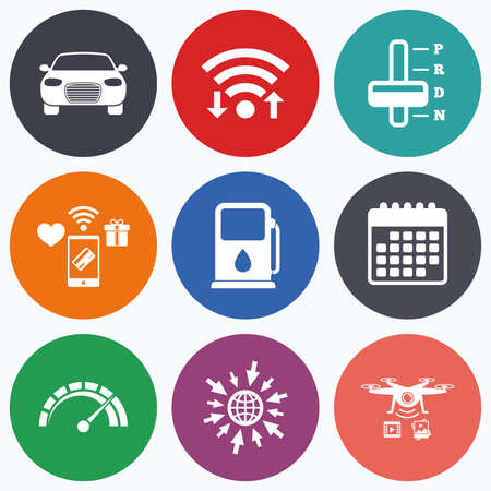 automatic transmission: Wifi, mobile payments and drones icons. Transport icons. Car tachometer and automatic transmission symbols. Petrol or Gas station sign. Calendar symbol.