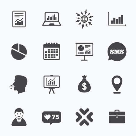 business case: Calendar, go to web and like counter. Statistics, accounting icons. Charts, presentation and pie chart signs. Analysis, report and business case symbols. Sms speech bubble, talk symbols.