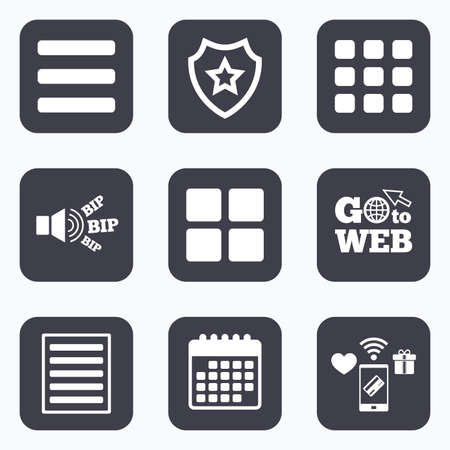 thumbnails: Mobile payments, wifi and calendar icons. List menu icons. Content view options symbols. Thumbnails grid or Gallery view. Go to web symbol. Illustration