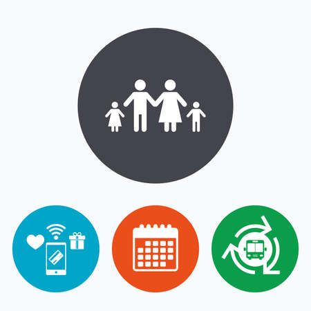 two children: Family with two children sign icon. Complete family symbol. Mobile payments, calendar and wifi icons. Bus shuttle. Illustration