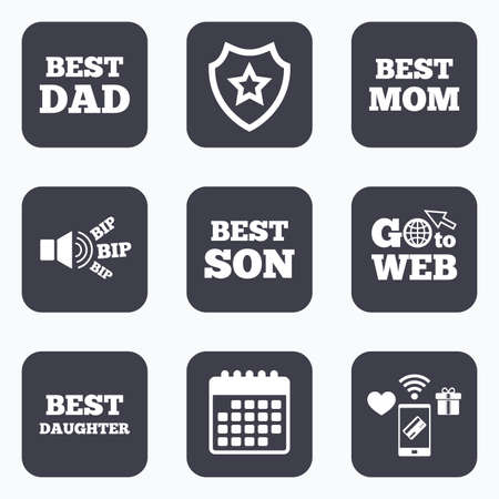 dad son: Mobile payments, wifi and calendar icons. Best mom and dad, son and daughter icons. Award symbols. Go to web symbol.