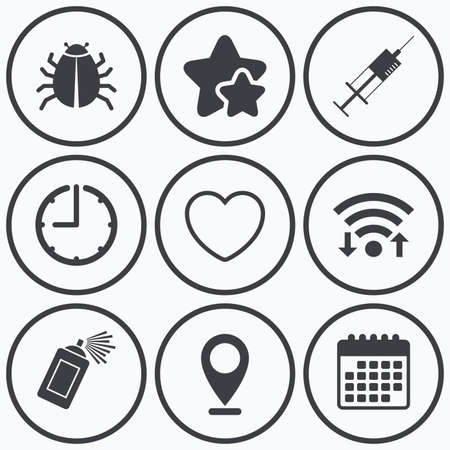 syringe injection: Clock, wifi and stars icons. Bug and vaccine syringe injection icons. Heart and spray can sign symbols. Calendar symbol. Illustration