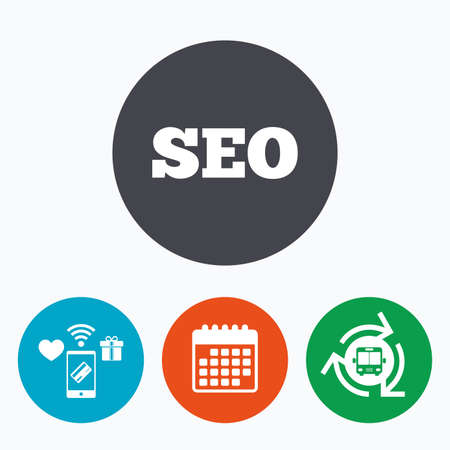 meta analysis: SEO sign icon. Search Engine Optimization symbol. Mobile payments, calendar and wifi icons. Bus shuttle. Illustration