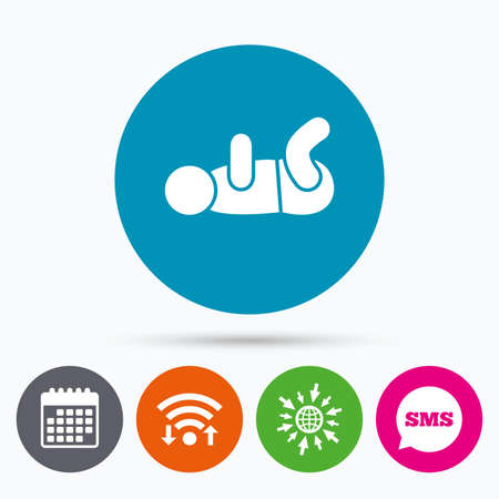 swaddling: Wifi, Sms and calendar icons. Baby infant swaddling sign icon. Toddler boy with diapers symbol. Child WC toilet. Go to web globe.