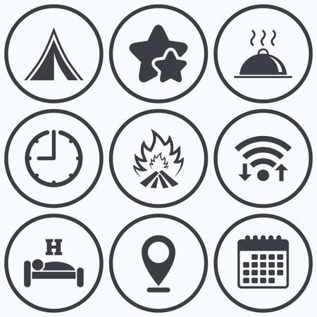 breakfast in bed: Clock, wifi and stars icons. Hot food, sleep, camping tent and fire icons. Hotel or bed and breakfast. Road signs. Calendar symbol.