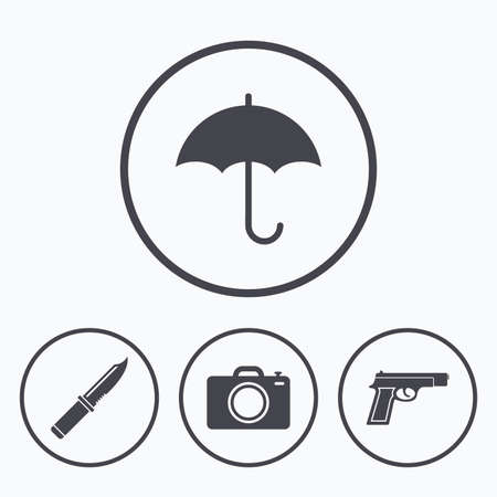 edged: Gun weapon icon.Knife, umbrella and photo camera signs. Edged hunting equipment. Prohibition objects. Icons in circles.