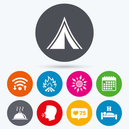 breakfast in bed: Wifi, like counter and calendar icons. Hot food, sleep, camping tent and fire icons. Hotel or bed and breakfast. Road signs. Human talk, go to web.