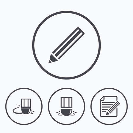 Pencil icon. Edit document file. Eraser sign. Correct drawing symbol. Icons in circles. Illustration
