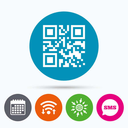 coded: Wifi, Sms and calendar icons. Qr code sign icon. Scan code symbol. Coded word - success! Go to web globe. Illustration