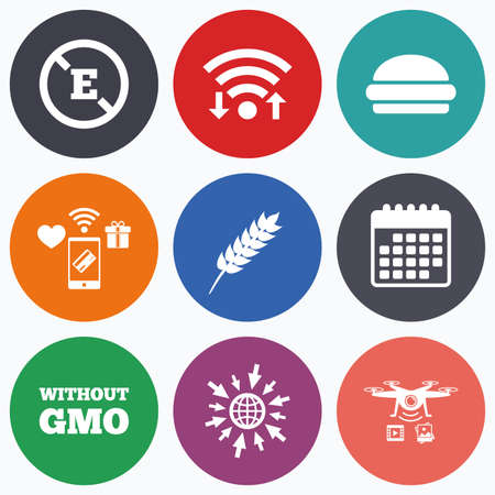 stabilizers: Wifi, mobile payments and drones icons. Food additive icon. Hamburger fast food sign. Gluten free and No GMO symbols. Without E acid stabilizers. Calendar symbol. Illustration