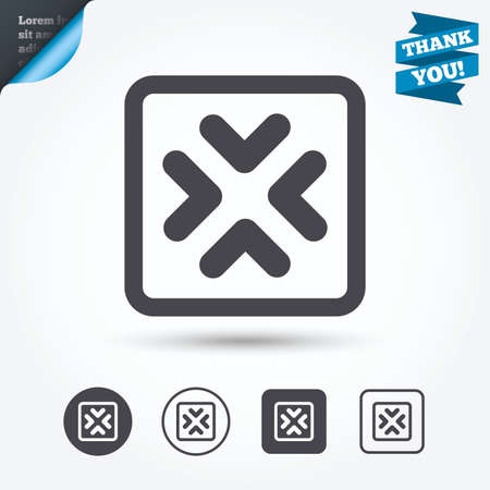 Enlarge or resize icon. Full Screen extend symbol. Circle and square buttons. Flat design set. Thank you ribbon.