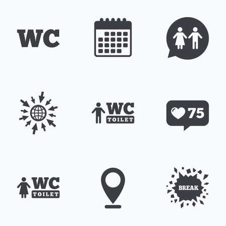 gents: Calendar, like counter and go to web icons. WC Toilet icons. Gents and ladies room signs. Man and woman speech bubble symbol. Location pointer. Illustration