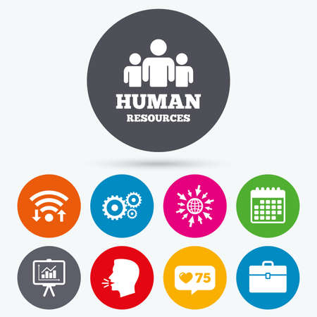 human icons: Wifi, like counter and calendar icons. Human resources and Business icons. Presentation board with charts signs. Case and gear symbols. Human talk, go to web. Illustration