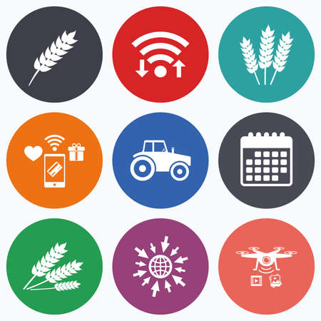 set free: Wifi, mobile payments and drones icons. Agricultural icons. Wheat corn or Gluten free signs symbols. Tractor machinery. Calendar symbol.