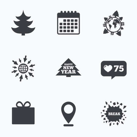 new year counter: Calendar, like counter and go to web icons. Happy new year icon. Christmas trees and gift box signs. World globe symbol. Location pointer. Illustration