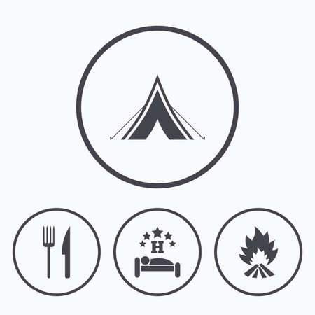 breakfast in bed: Food, sleep, camping tent and fire icons. Knife and fork. Hotel or bed and breakfast. Road signs. Icons in circles. Illustration