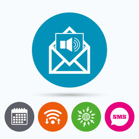 voice mail: Wifi, Sms and calendar icons. Voice mail icon. Speaker symbol. Audio message. Go to web globe. Illustration