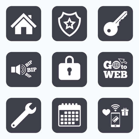 screw key: Mobile payments, wifi and calendar icons. Home key icon. Wrench service tool symbol. Locker sign. Main page web navigation. Go to web symbol.