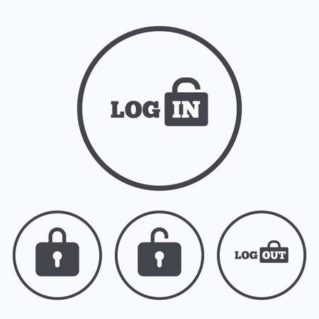 log out: Login and Log out icons. Sign in or Sign out symbols. Lock icon. Icons in circles.