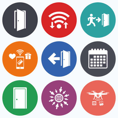 fire exit: Wifi, mobile payments and drones icons. Doors icons. Emergency exit with human figure and arrow symbols. Fire exit signs. Calendar symbol.