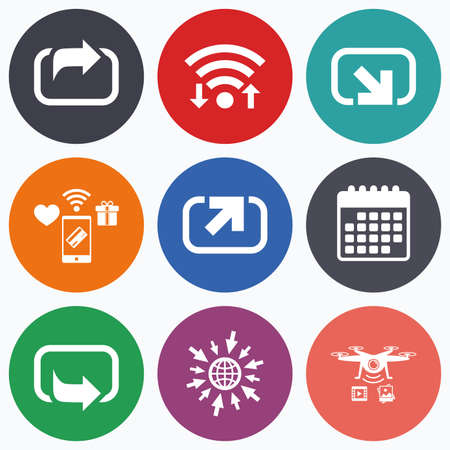 forward arrow: Wifi, mobile payments and drones icons. Action icons. Share symbols. Send forward arrow signs. Calendar symbol.
