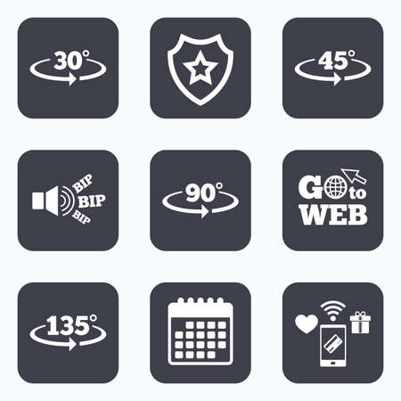 Mobile payments, wifi and calendar icons. Angle 30-135 degrees icons. Geometry math signs symbols. Full complete rotation arrow. Go to web symbol. Illusztráció