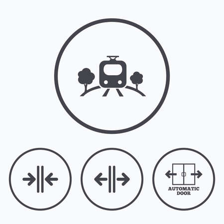 automatic doors: Train railway icon. Overground transport. Automatic door symbol. Way out arrow sign. Icons in circles. Illustration