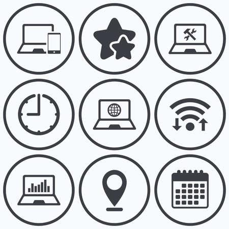 screw key: Clock, wifi and stars icons. Notebook laptop pc icons. Internet globe sign. Repair fix service symbol. Monitoring graph chart. Calendar symbol.