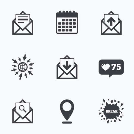 outbox: Calendar, like counter and go to web icons. Mail envelope icons. Find message document symbol. Post office letter signs. Inbox and outbox message icons. Location pointer.