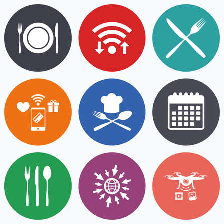 plate camera: Wifi, mobile payments and drones icons. Plate dish with forks and knifes icons. Chief hat sign. Crosswise cutlery symbol. Dining etiquette. Calendar symbol.