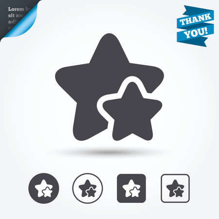best rated: Star icon. Favorite sign. Best rated symbol. Circle and square buttons. Flat design set. Thank you ribbon.