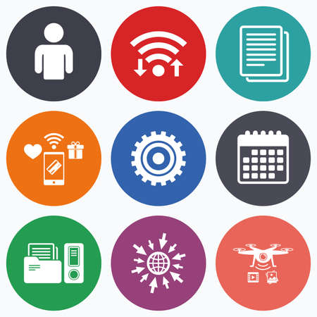 auditing: Wifi, mobile payments and drones icons. Accounting workflow icons. Human silhouette, cogwheel gear and documents folders signs symbols. Calendar symbol. Illustration