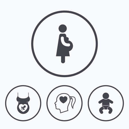 maternity: Maternity icons. Baby infant, pregnancy and dummy signs. Child pacifier symbols. Head with heart. Icons in circles.