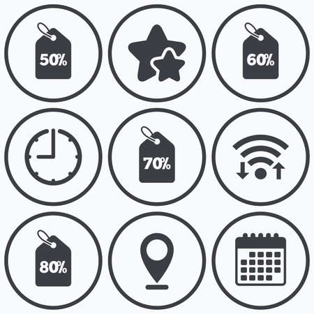 60 70: Clock, wifi and stars icons. Sale price tag icons. Discount special offer symbols. 50%, 60%, 70% and 80% percent discount signs. Calendar symbol. Illustration