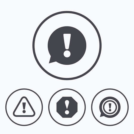 inform information: Attention icons. Exclamation speech bubble symbols. Caution signs. Icons in circles.