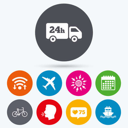 counter service: Wifi, like counter and calendar icons. Cargo truck and shipping icons. Shipping and eco bicycle delivery signs. Transport symbols. 24h service. Human talk, go to web.