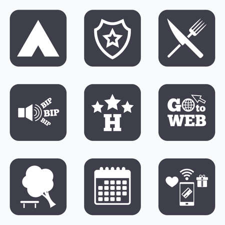 break down: Mobile payments, wifi and calendar icons. Food, hotel, camping tent and tree icons. Knife and fork. Break down tree. Road signs. Go to web symbol.