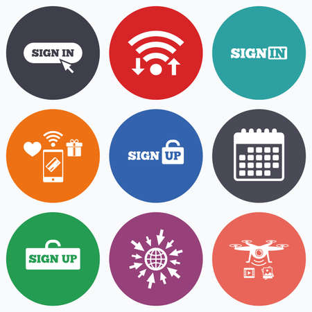 mobile website: Wifi, mobile payments and drones icons. Sign in icons. Login with arrow, hand pointer symbols. Website or App navigation signs. Sign up locker. Calendar symbol. Illustration
