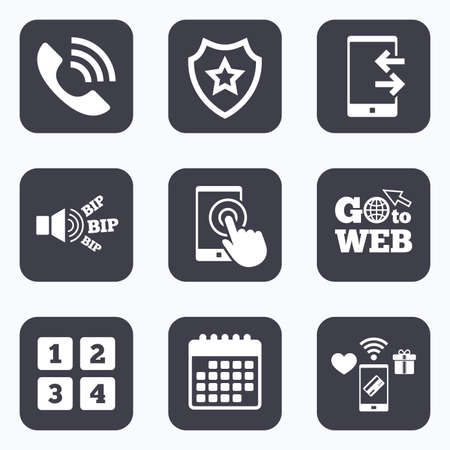 outcoming: Mobile payments, wifi and calendar icons. Phone icons. Touch screen smartphone sign. Call center support symbol. Cellphone keyboard symbol. Incoming and outcoming calls. Go to web symbol.