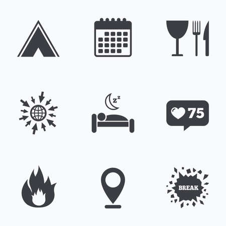 breakfast in bed: Calendar, like counter and go to web icons. Food, sleep, camping tent and fire icons. Knife, fork and wineglass. Hotel or bed and breakfast. Road signs. Location pointer.