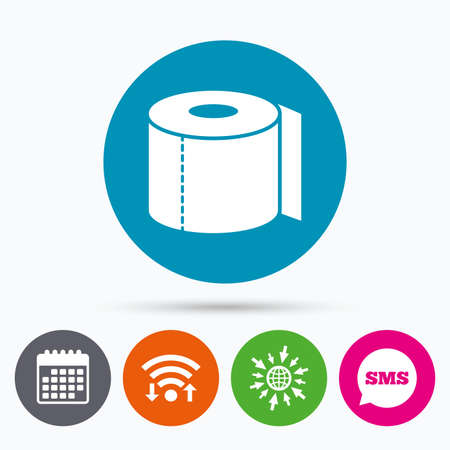 closet communication: Wifi, Sms and calendar icons. Toilet paper sign icon. WC roll symbol. Go to web globe. Illustration