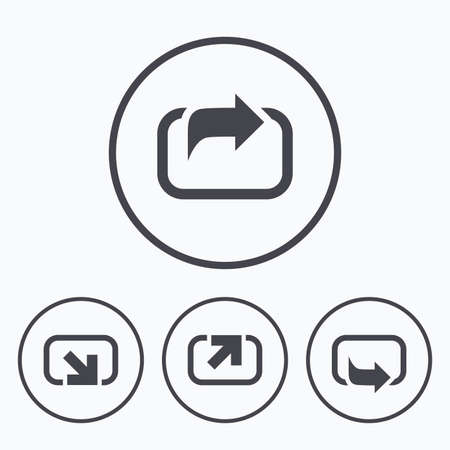 forward arrow: Action icons. Share symbols. Send forward arrow signs. Icons in circles.