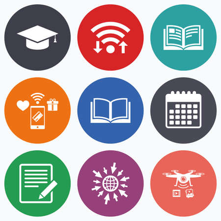 higher education: Wifi, mobile payments and drones icons. Pencil with document and open book icons. Graduation cap symbol. Higher education learn signs. Calendar symbol.