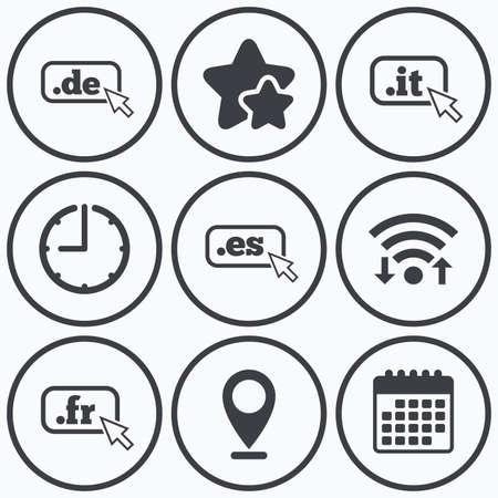 dns: Clock, wifi and stars icons. Top-level internet domain icons. De, It, Es and Fr symbols with cursor pointer. Unique national DNS names. Calendar symbol.