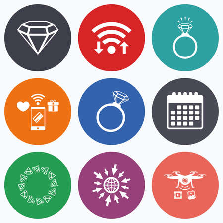 diamond rings: Wifi, mobile payments and drones icons. Rings icons. Jewelry with shine diamond signs. Wedding or engagement symbols. Calendar symbol.