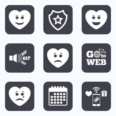 모바일 결제, 와이파이 및 캘린더 아이콘. 심장 미소 얼굴 아이콘입니다. 행복, 슬픈, 울음 소리. 해피 스마일 채팅 기호입니다. 슬픔 우울증과 우는 징후. 웹 기호로 이동하십시오.