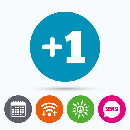 append: Wifi, Sms and calendar icons. Plus one sign. Add one symbol. One more. Go to web globe.
