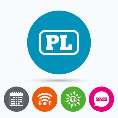 pl: Wifi, Sms and calendar icons. Polish language sign icon. PL translation symbol with frame. Go to web globe.