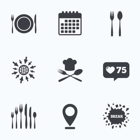 dessert fork: Calendar, like counter and go to web icons. Plate dish with forks and knifes icons. Chief hat sign. Crosswise cutlery symbol. Dessert fork. Location pointer.