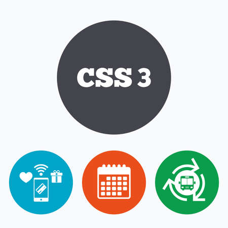 css3: CSS3 sign icon. Cascading Style Sheets symbol. Mobile payments, calendar and wifi icons. Bus shuttle.